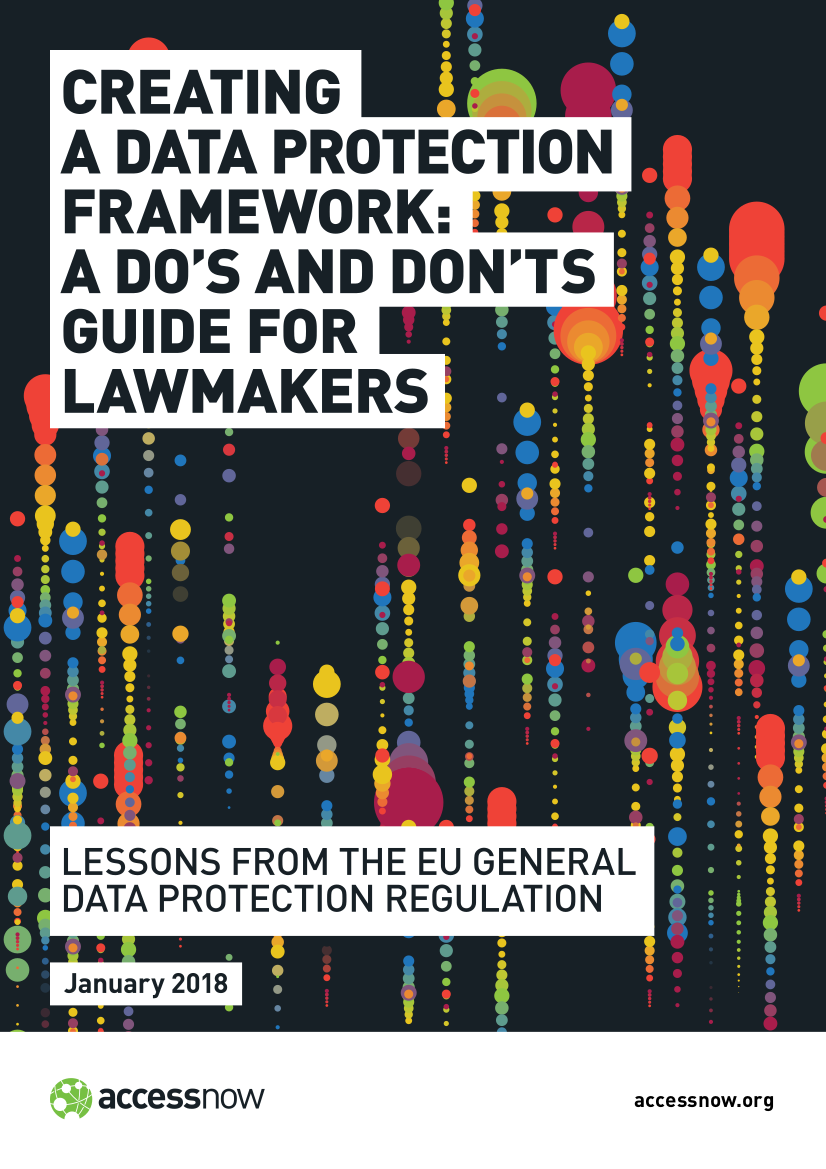 Personal Data Protection Framework Guideline for Lawmakers